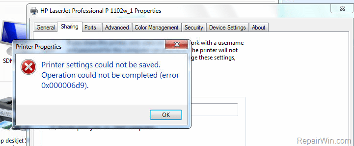 Sửa lỗi Printer settings could not be saved. Operation could not be completed